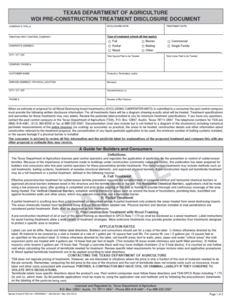 7090 Texas Dept. of Agriculture WDI Pre Construction Treatment Disclosure Document