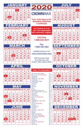 2020 Large Calendar