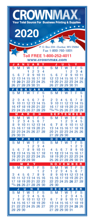 2020 Small Calendar