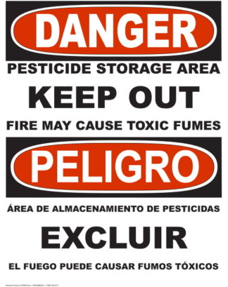 Danger Pesticide Storage Area Sign Bilingual