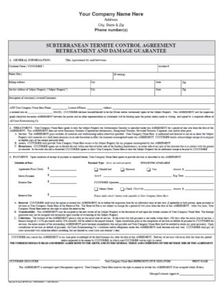 Subterranean Termite Control Agreement Retreatment and Damage Guarantee