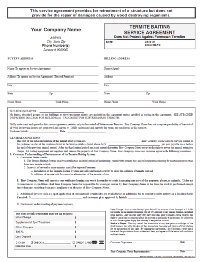 7190-NC – Termite Baiting Service Agreement - No Repair