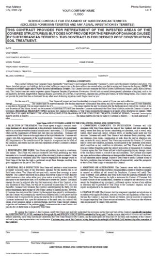 7196 – Service Contract for treatment of Subterranean Termites – Retreat / No Repair