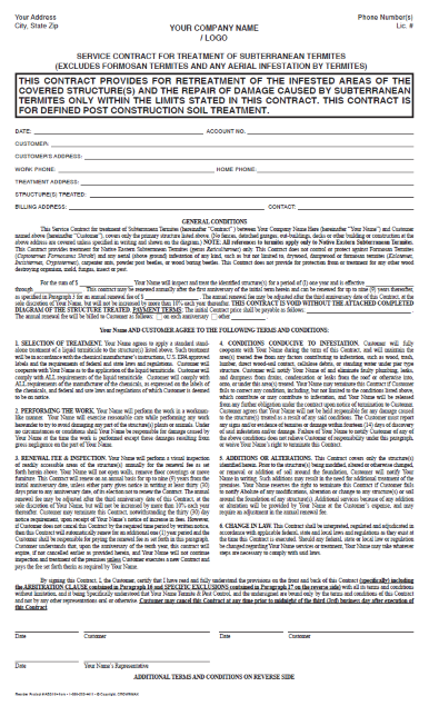7198 – Service Contract for treatment of Subterranean termites – Retreat / with Repair