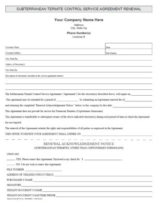 Subterranean Termite Control Service Agreement Renewal