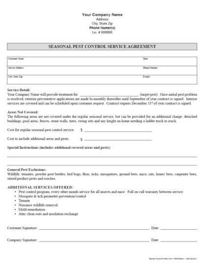 7099 - Seasonal Pest Control Service Agreement