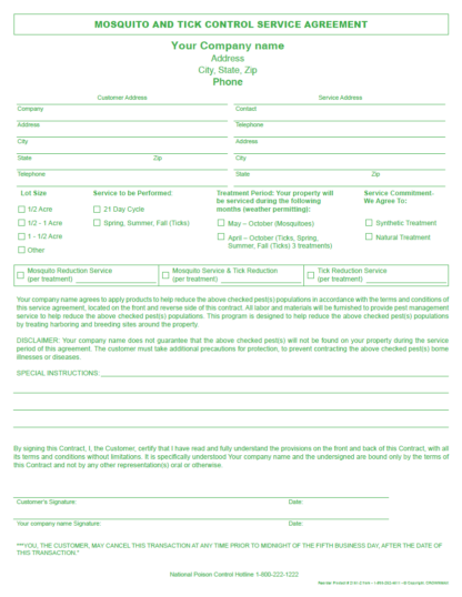 2161 - Mosquito and Tick Control Service Agreement