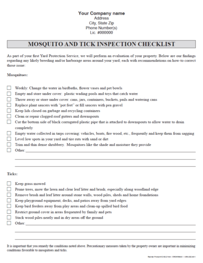 2165 - Mosquito and Tick Inspection Checklist