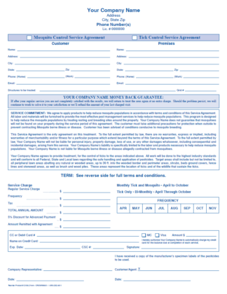 2156 - Mosquito / Tick Control Service Agreement